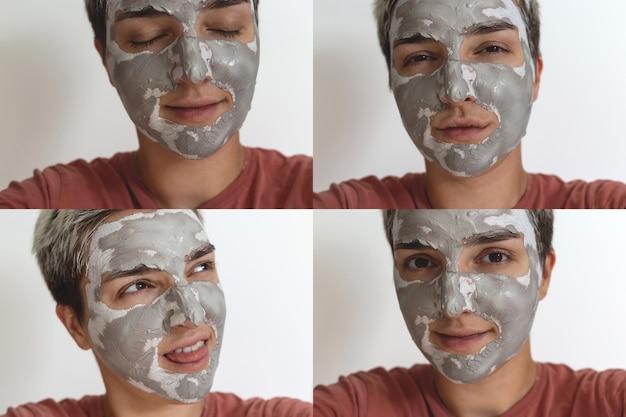 Collage de quatre photos recadrées d'une femme amusante et amusante qui applique un masque d'argile de soin de la peau gris vert sur le visage