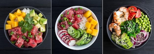 Collage de salade de poke. poke salade dans le bol sur le fond en bois noir. vue de dessus. fermer.