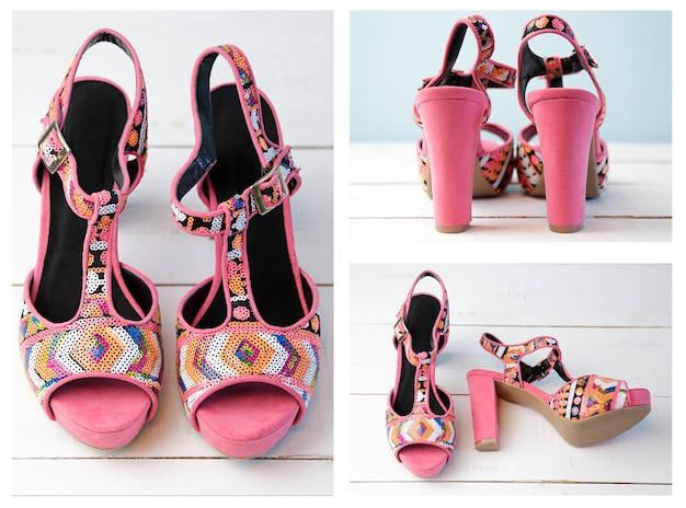 Collage de sandales roses dans différentes positions