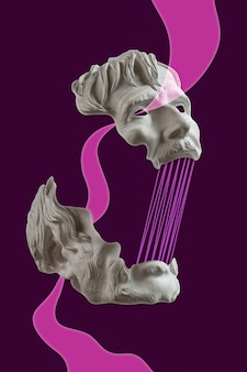 Collage avec sculpture antique en plâtre de visage humain affiche d'art contemporain funky punk minimalisme