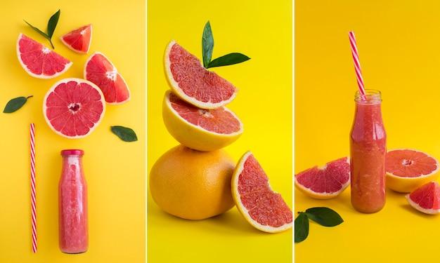 Collage de smoothie pamplemousse et pamplemousse en équilibre sur fond jaune. fermer.