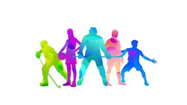 Collage de sport fait de sportifs de dessin avec des couleurs fluides lumineuses isolées