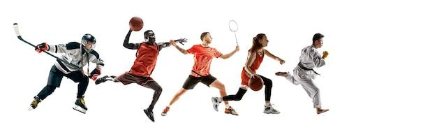 Collage sportif d'athlètes ou de joueurs professionnels isolés sur un mur blanc, flyer