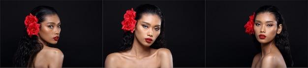 Collage trois groupe de belle femme à la peau propre bronzée enveloppée de cheveux noirs avec un sourire à lèvre rouge fleur rouge, éclairage de studio espace de copie de fond noir, filles asiatiques avec un coeur d'amour de visage d'oeil de mode