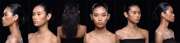Collage visage de peau bronzée asiatique femme après avoir appliqué la coiffure. pas de retouche, visage frais avec peau acnéique et verruqueuse. fond noir d'éclairage de studio, fille se retourne pour montrer l'angle du visage