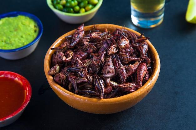 Collation de chapulines de sauterelles. cuisine mexicaine traditionnelle
