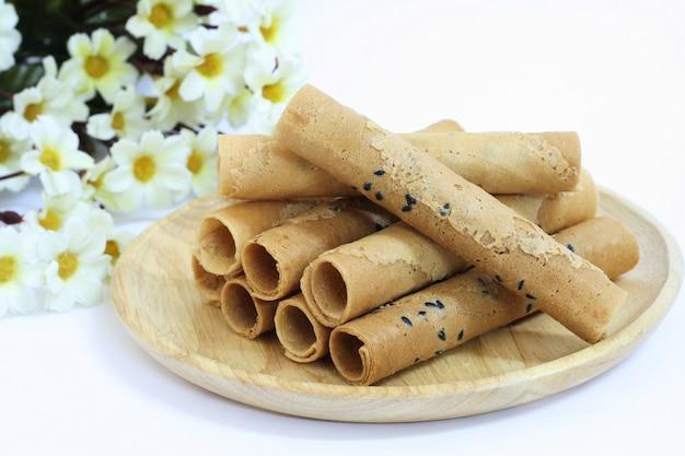 Collation thaïlandaise croustillante de rolls, thong muan
