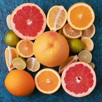 Collection d'agrumes, oranges, citrons, limes et pamplemousse fruits frais