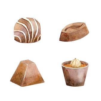 Collection aquarelle de chocolat fourré