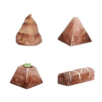 Collection aquarelle de chocolat