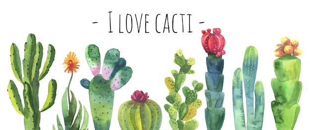 Collection de cactus aquarelle.