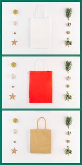 Collection de cartes avec des paquets d'achats colorés et des décorations