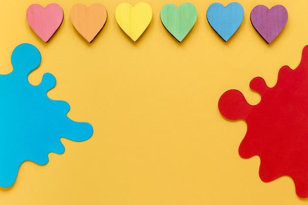 Collection de coeurs colorés