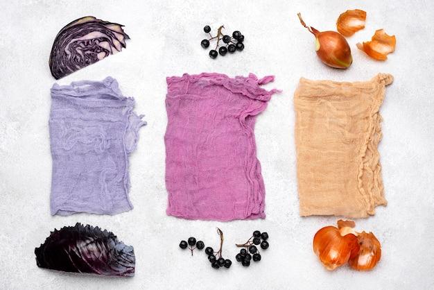 Collection de colorants organiques vue de dessus