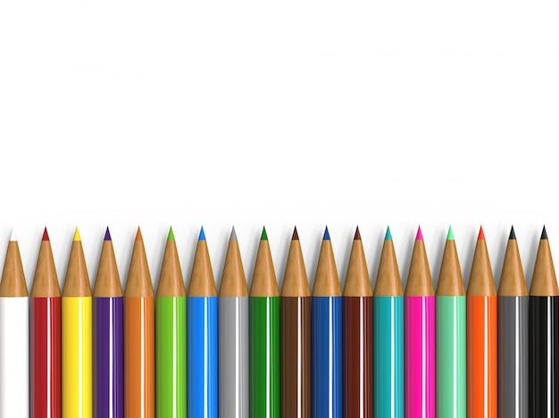 Collection de crayons de couleur isolé sur blanc