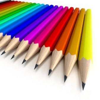 Collection de crayons dans toutes les nuances de couleurs