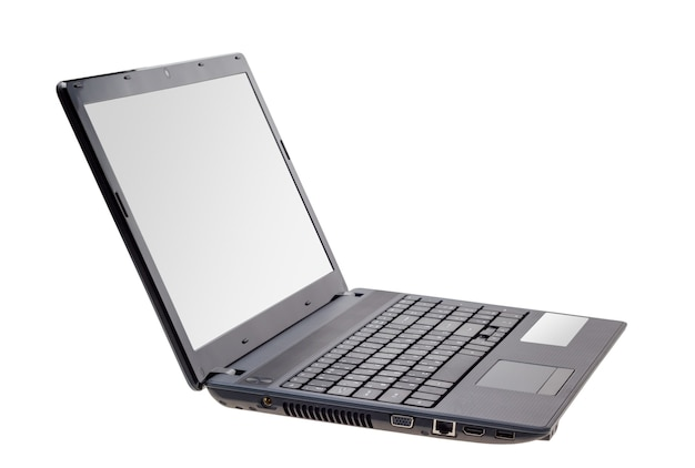 Collection électronique - ordinateur portable moderne isolé sur fond blanc