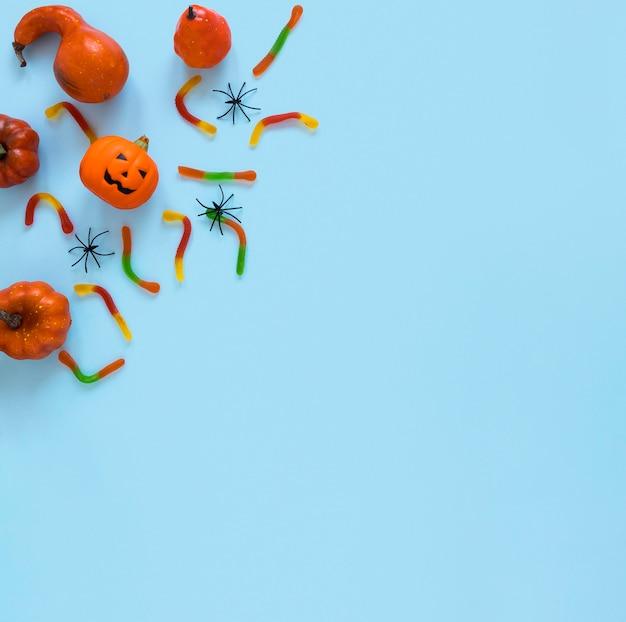 Collection d'éléments halloween effrayants vue de dessus
