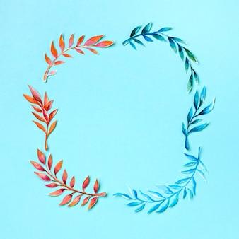 Collection de feuilles tropicales avec espace copie