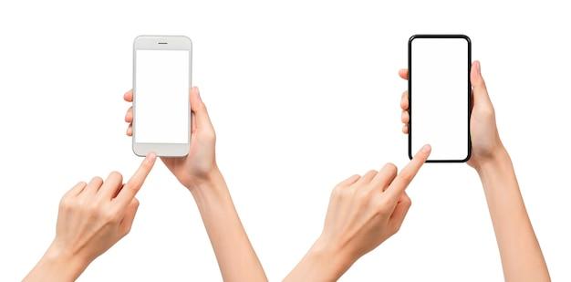 Collection de gestes de main tenant un smartphone avec écran blanc, maquette pour application mobile, design moderne avec chemin de détourage.