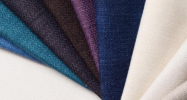 Collection lumineuse d'échantillons de textile gunny. fond de texture de tissu.