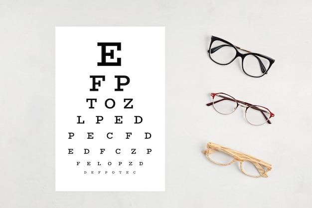 Collection de lunettes avec table de test oculaire. magasin d'optique, sélection de lunettes, test de la vue, examen de la vue chez l'opticien, concept d'accessoires de mode. vue de dessus, pose à plat