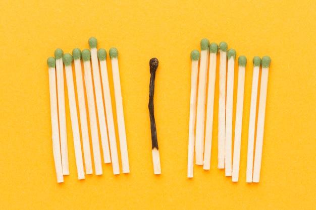 Collection de matchs et une allumette brûlée
