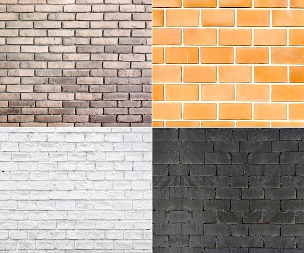 Collection de mur de briques, fond de texture grunge, quatre type de couleur de briques