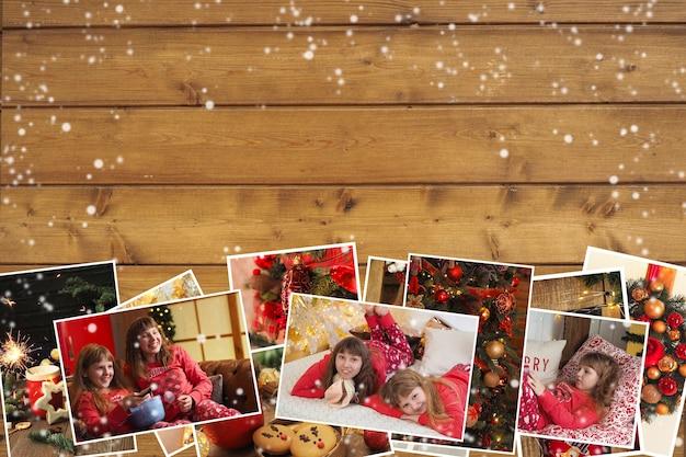 Collection de photos de noël avec des enfants en pyjama, biscuits, décoration et cadre de table sur fond marron bois. espace de copie