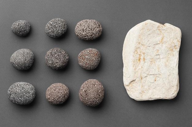 Collection de pierre vue de dessus
