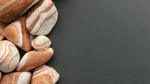 Collection de pierres à plat avec espace copie