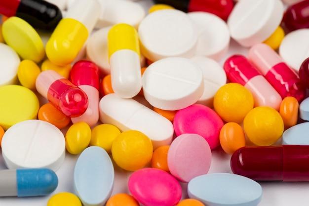 Collection de pilules en gros plan