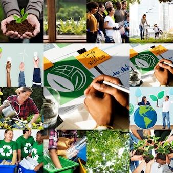 Collection de plantation de plus d'arbres pour des problèmes environnementaux