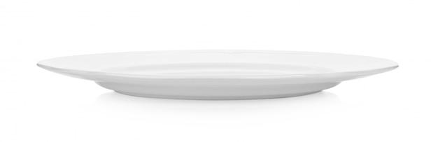 Collection de plaque blanche isolée sur espace blanc