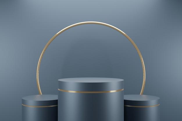 Collection de podium en or bleu minimal sur fond abstrait rendu 3d