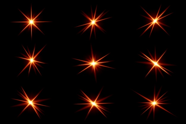 Collection de reflets et de rayures claires. pack d'effets de lumière.