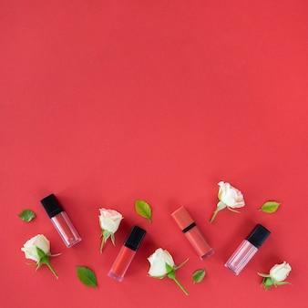 Collection de rouges à lèvres copy-space