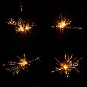 Collection de sparklers en feu