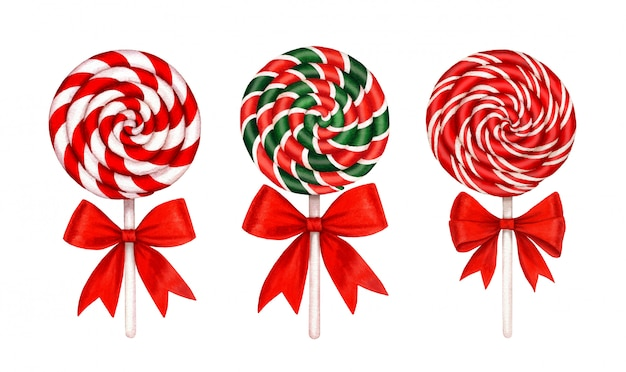 Collection de sucettes à rayures vertes, blanches et rouges et noeuds rouges