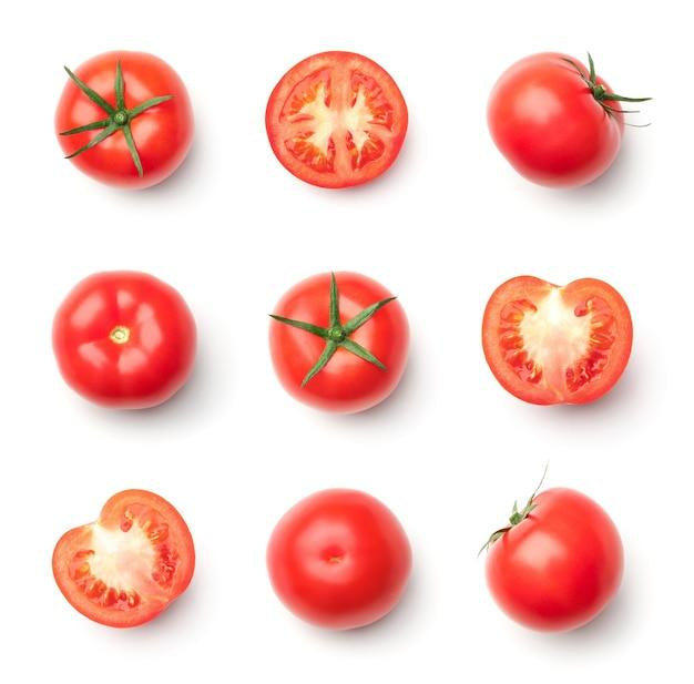 Collection de tomates rouges isolé sur blanc
