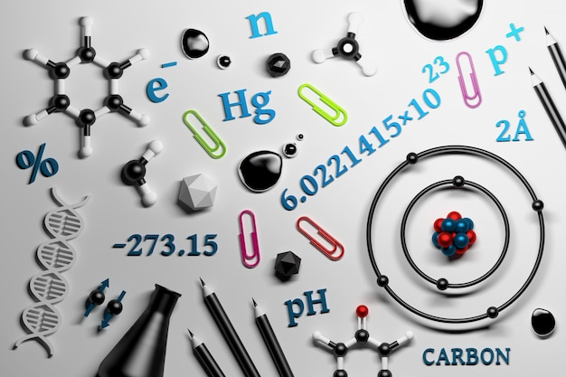 Collection d'ustensiles de recherche en chimie scientifique