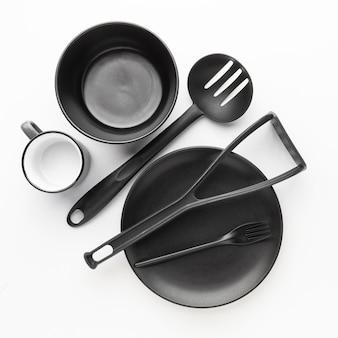Collection de vaisselle vue de dessus