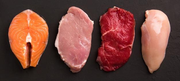 Collection de viande crue