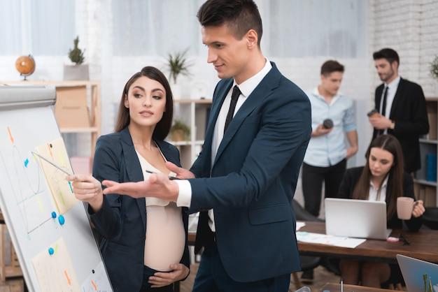 Collègue enceinte discutant du travail au bureau.