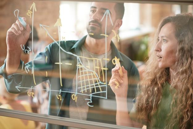 Collègues d'affaires dessinant un graphique financier sur un mur de verre et l'examinant ensemble en équipe lors de la présentation au bureau
