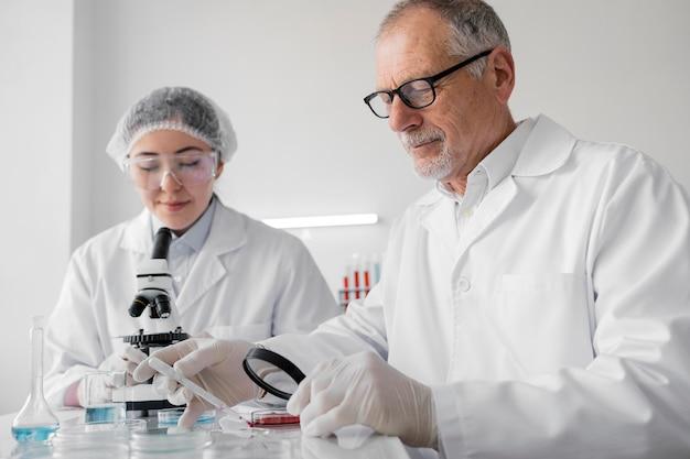Collègues de laboratoire faisant des expériences