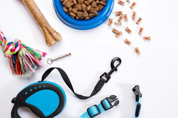 Collier bleu bol avec laisse d'alimentation et délicatesse pour chiens isolés sur fond blanc