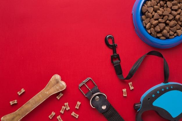 Collier, bol bleu avec nourriture, laisse et friandise pour chiens. isolé sur fond rouge. vue de dessus. nature morte. espace de copie