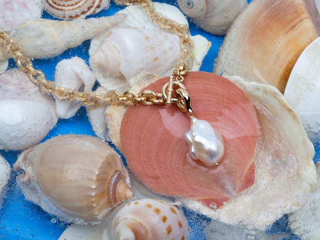 Collier doré avec pendentif perle baroque blanche sur fond coquillage marin. photo en gros plan