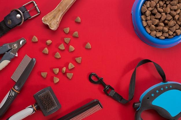 Collier, gamelle avec nourriture, laisse, friandise, peignes et brosses pour chiens. isolé sur fond rouge. vue de dessus. nature morte. espace de copie